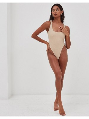 4th + Reckless lani textured swimsuit in beige