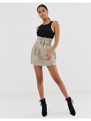 4th + Reckless paperbag pu buckle skirt in mocha-beige