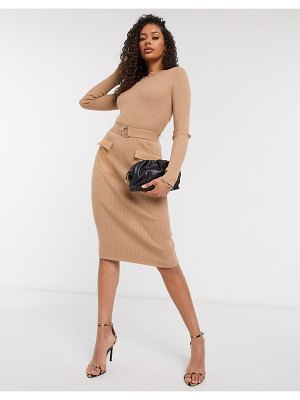 4th + Reckless belted midi skirt two-piece in camel-beige