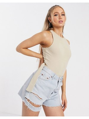 4th + Reckless cross back body in stone-cream