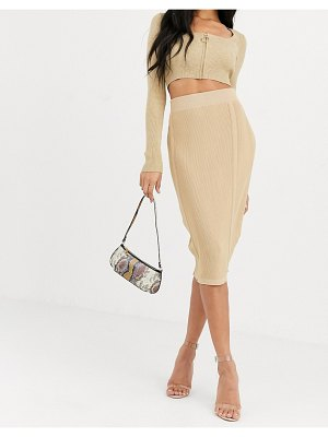 4th + Reckless knitted panel skirt in camel-cream