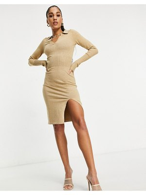 4th & Reckless knitted plunge front sweater dress with collar in camel-brown