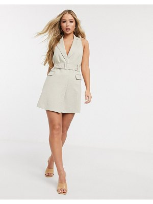 4th + Reckless sleeveless blazer dress with belt in sand-beige