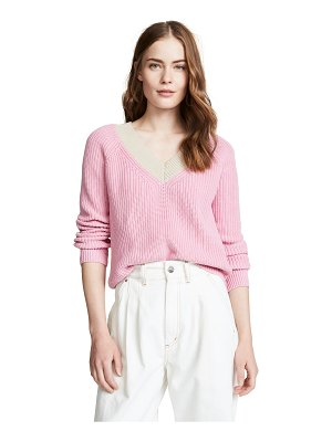 525 America cotton shaker colorblock sweater
