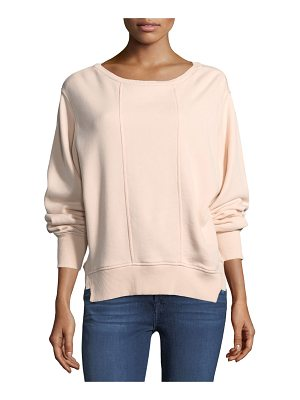 7 For All Mankind Crewneck Tucked Sleeve Cotton Sweatshirt