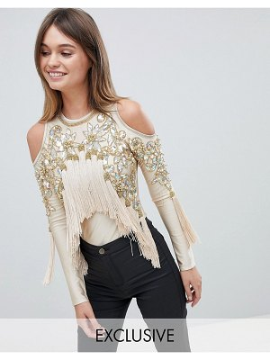 A STAR IS BORN Cold Shoulder Bodysuit With Tassel Detail