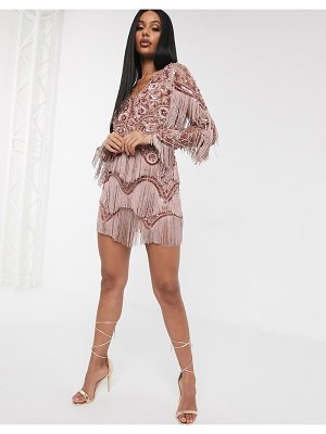 A Star Is Born exclusive embellished tassel mini dress with plunge front in mink-brown