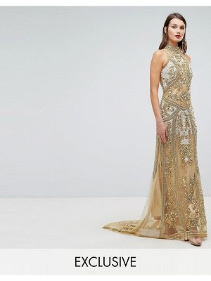 A STAR IS BORN High Neck Maxi Dress With Allover Embellishment In Pattern