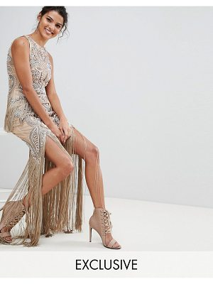 A STAR IS BORN Luxe All Over Jewel Embellished Maxi Dress With Beaded Tassel Hem