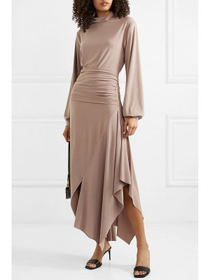 aaizél net sustain asymmetric draped stretch-jersey turtleneck midi dress