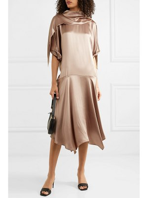 aaizél net sustain convertible asymmetric silk-satin midi dress