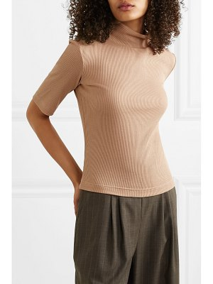 aaizél net sustain ribbed modal and cotton-blend turtleneck top