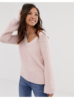 Abercrombie & Fitch chenille bell sleeve knit sweater-pink