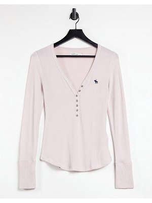 Abercrombie & Fitch cozy henley long sleeve t-shirt in pink
