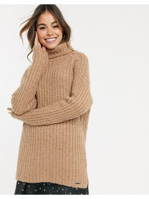 Abercrombie & Fitch longline cozy high neck sweater-brown