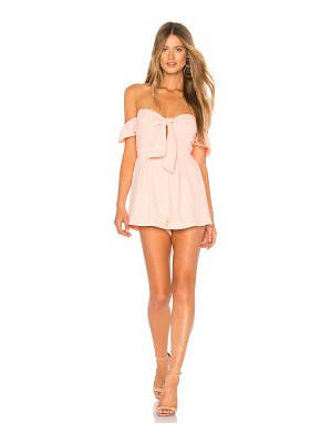 About Us Dayana Tie Front Off Shoulder Romper