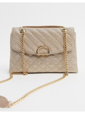 Accessorize ayda mini quilted shoulder bag with chain in gold