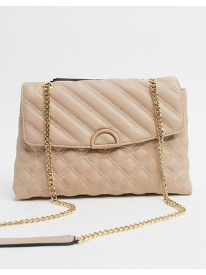 Accessorize ayda quilted shoulder bag with chain strap in beige