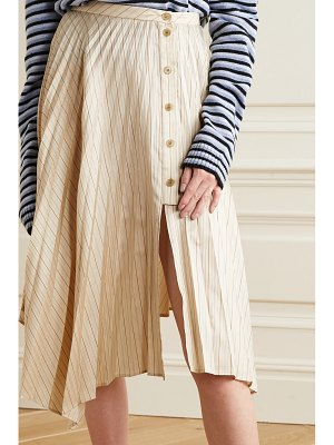 Acne Studios asymmetric pleated striped satin-twill midi skirt