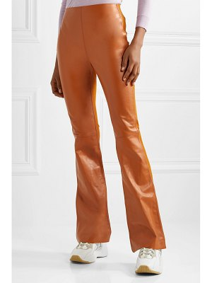 Acne Studios lizzie paneled leather and ribbed-jersey flared pants