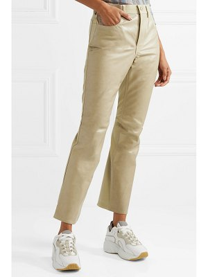 Acne Studios paneled leather and cotton-blend twill flared pants