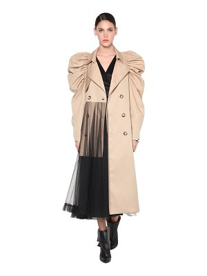 ACT N°1 Cotton trench coat w/ puff sleeves