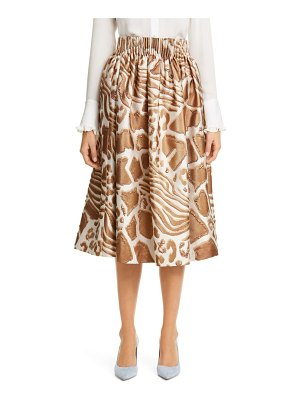 Adam Lippes animal pattern gathered jacquard skirt