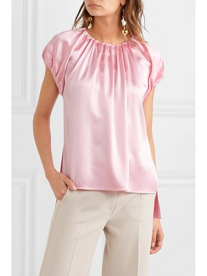 Adam Lippes gathered silk-charmeuse top