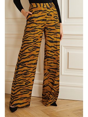 Adam Lippes tiger-print stretch-jersey wide-leg pants