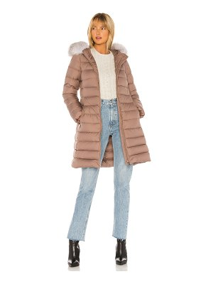 ADD hooded down coat with fur border