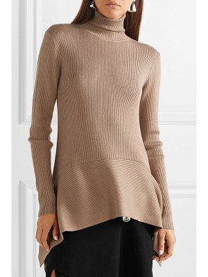 ADEAM asymmetric ribbed silk-blend turtleneck sweater