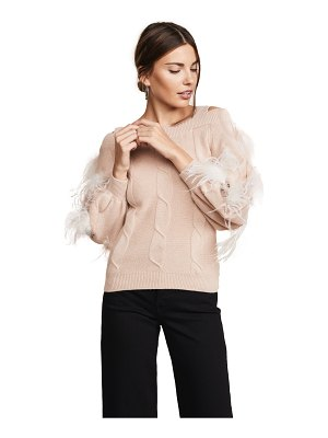 ADEAM cashmere sweater with feather trim