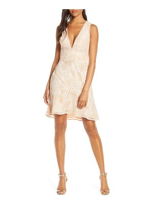 Adelyn Rae hazel plunging v-neck lace cocktail dress