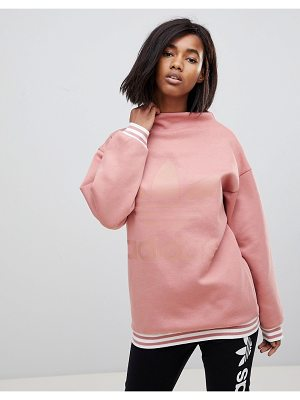 Adidas Originals adicolor High Neck Pink Sweatshirt With Three Stripe Trim