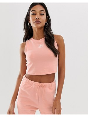 Adidas Originals adicolor three stripe cropped tank in pink