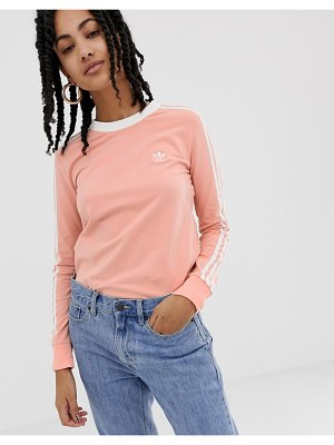 Adidas Originals adicolor three stripe long sleeve t-shirt in pink