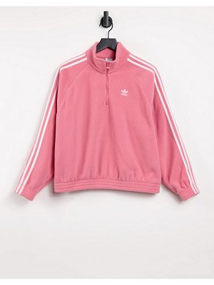 Adidas Originals adicolor three stripe quarter zip fleece sweatshirt in hazy rose-pink