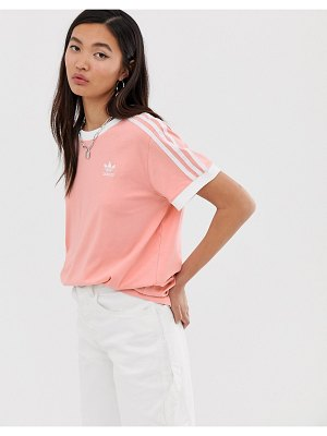 Adidas Originals adicolor three stripe t-shirt in pink