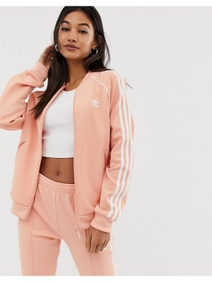 Adidas Originals adicolor three stripe track jacket in pink