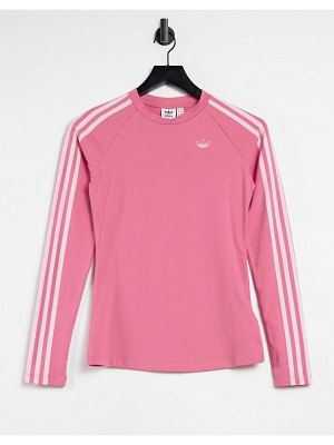 Adidas Originals fakten three stripe logo fitted long sleeve top in hazy rose-pink