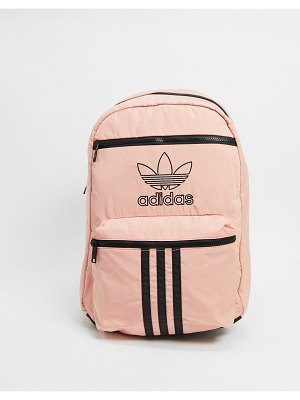 Adidas Originals national 3 stripe backpack in trace pink