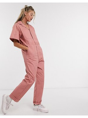 Adidas Originals new neutrals logo boilersuit in pink