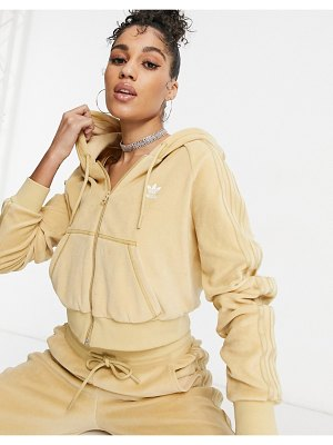 Adidas Originals 'relaxed risqué' velour zip through hoodie in beige