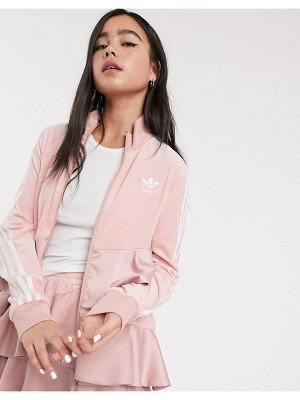 Adidas Originals x j koo satin trefoil ruffle track top in pink