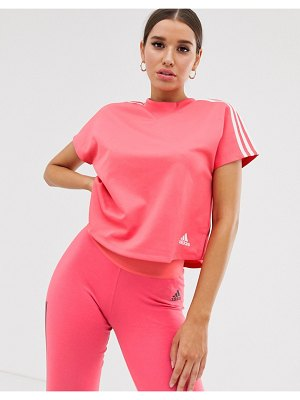 Adidas adidas training boxy three stripe t-shirt in pink