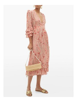 ADRIANA DEGREAS aloe-print ruffled-hem silk-crepe dress
