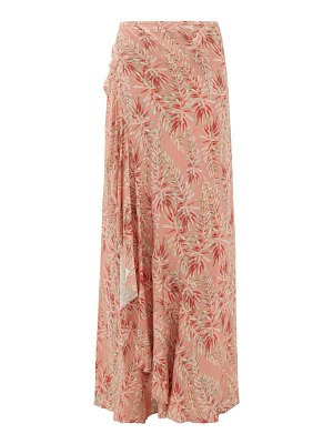 ADRIANA DEGREAS aloe-print ruffled tie-front skirt