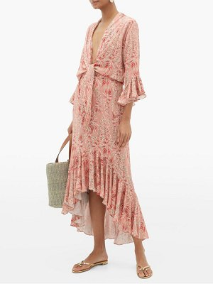 ADRIANA DEGREAS aloe-print tie-front twill dress