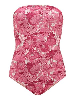 ADRIANA DEGREAS strapless flower bloom-print swimsuit