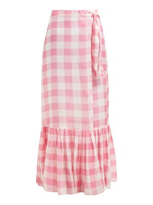 ADRIANA DEGREAS gingham wrap maxi skirt